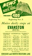 CNW Train schedule flyer dated 1939